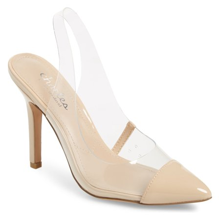Metallic Slingback Pumps (Charles by Charles David Madalyn Clear Slingback Strap Stiletto Heel Pumps)