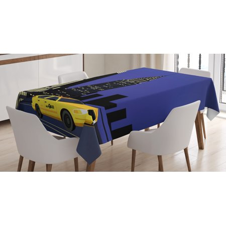 City Tablecloth, Skyscrapers and Taxi New York Theme American Downtown Scenic Skyline, Rectangular Table Cover for Dining Room Kitchen, 60 X 84 Inches, Violet Blue Yellow Black, by (New Dining Room)