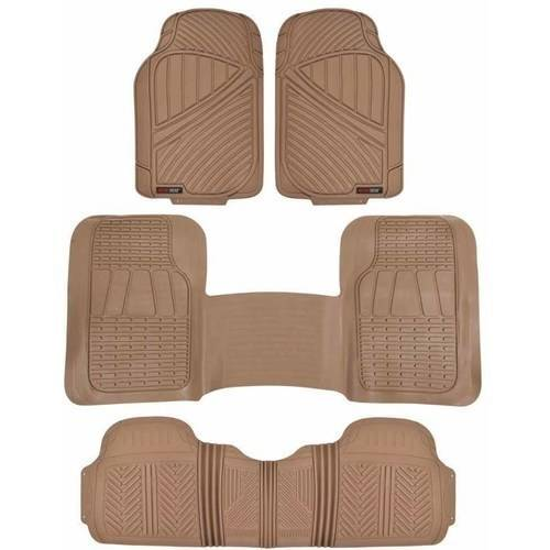Motor Trend FlexTough Floor Mats for Car SUV and Van 3 Rows, Odorless EcoClean Liners, 3 Colors