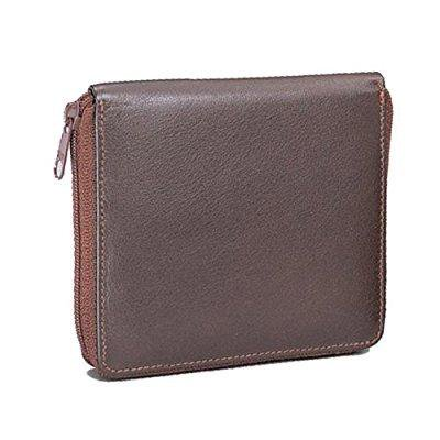 cowhide drum-dyed nappa leather zippered wallet color: black (Drum Dyed Nappa Leather Wallet)