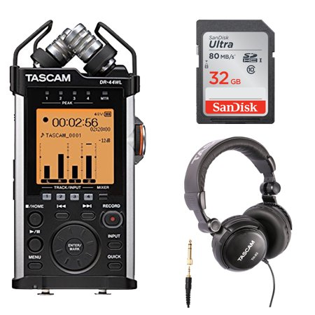 Tascam DR-44WL Portable Digital Recorder with WiFi and Accessories