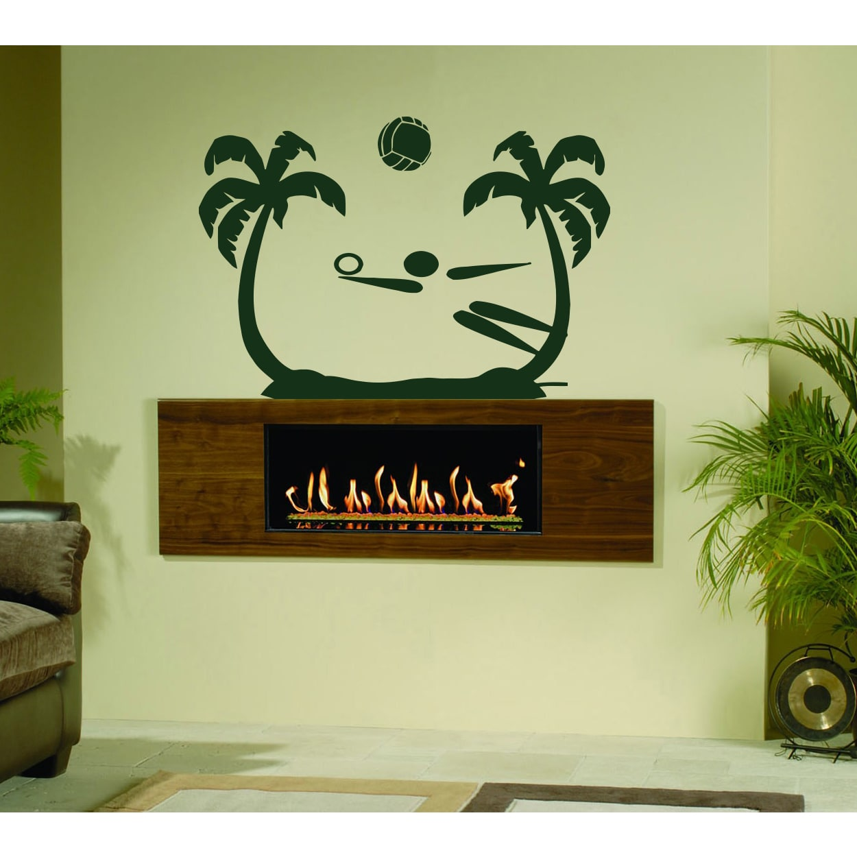 Stickalz llc The game of volleyball on the beach Wall Art Sticker ...