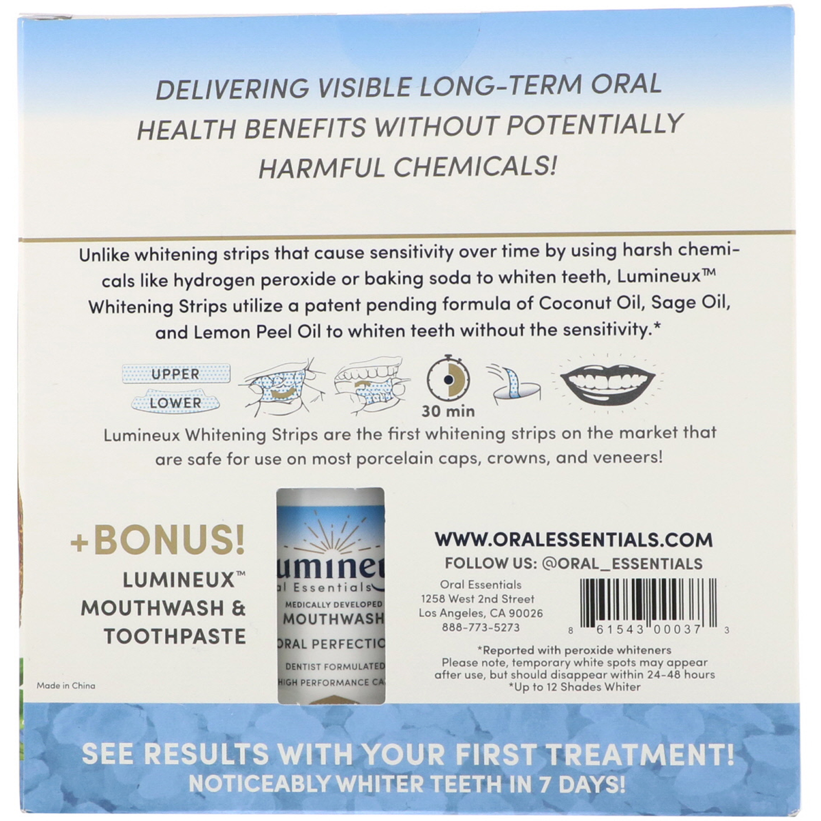 Lumineux Oral Essentials Whitening Strips 28 Strips Bonus