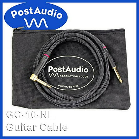 Post Audio Extra Fat Nylon Armored10' Angle Guitar Cable with Gold Ends & Carrying Bag