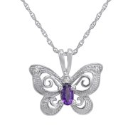 Sterling Silver Amethyst and Diamond Butterfly Pendant-Necklace