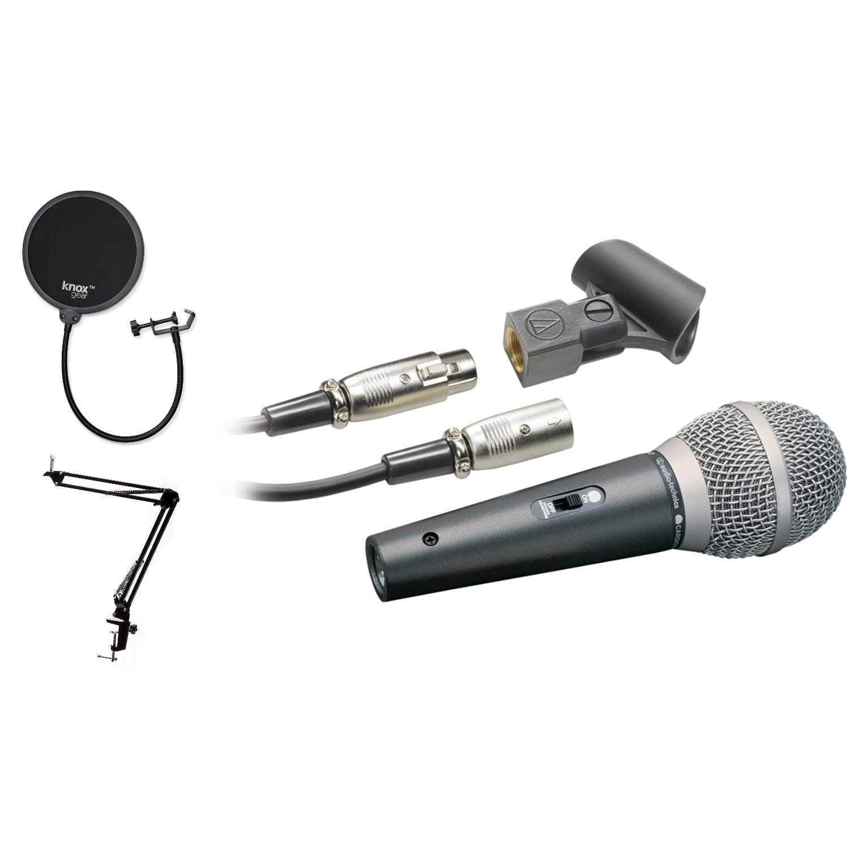 Audio-Technica ATR1500 Cardioid Handheld Dynamic Microphone + Knox Gear Pop Filter + Boom... by Audio Technica