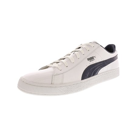 (Puma Men's Basket Classic Patent White / Peacoat Ankle-High Leather Fashion Sneaker - 13M)