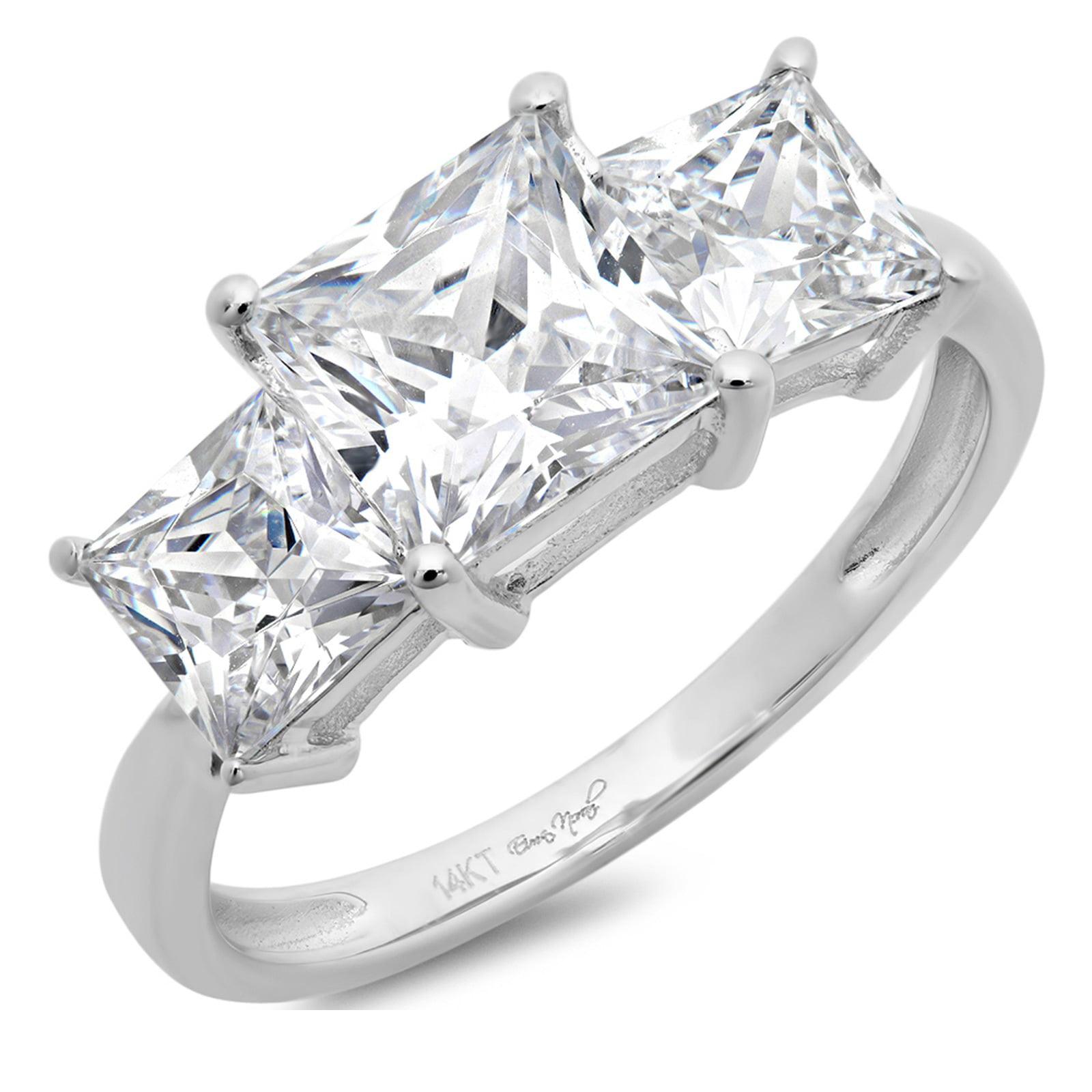 3.0 CT Three Stone Princess Cut Sim Diamond CZ Solitaire ...