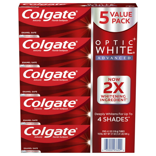 Product Of Colgate Optic White Advanced Teeth Whitening Toothpaste 5 Pk Walmart Com Walmart Com