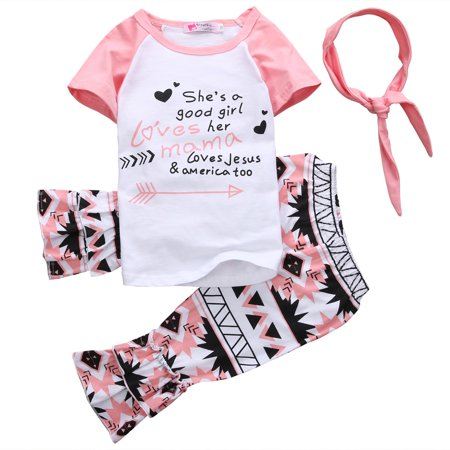 Toddler Baby Girls Kids Short Sleeve Letters Print T-Shirt and Ruffle Cropped Pants Outfits with Headband 3 Pieces Outfit Set