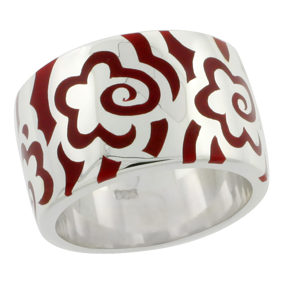 Sterling Silver High Polished Flower Ring Red Enamel 15/32 inch wide, sizes 6 to 10