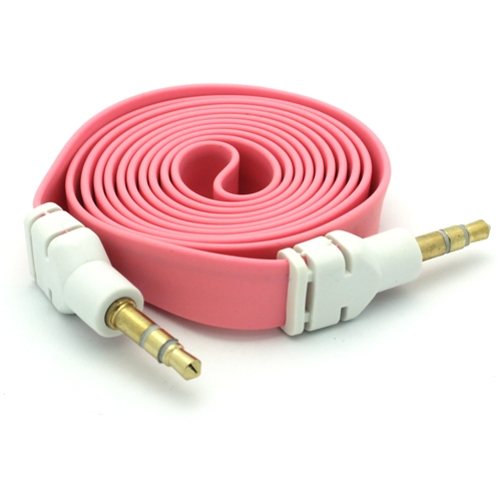 Pink Flat Aux Cable Car Stereo Wire Audio Speaker Cord 3.5mm Jack Adapter Auxiliary [Tangle Free] Compatible With Nokia 3.1 Plus - Samsung Galaxy S10e S10+ S10 Halo