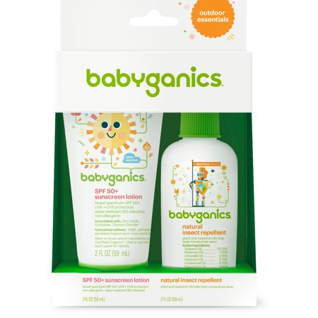 Babyganics Mineral-Based SPF 50+ Sunscreen + Natural Insect Repellent Outdoor Essentials Duo, 2 oz (Packaging May Vary)