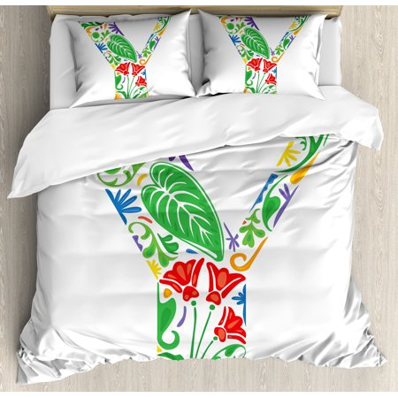 Letter Writing Set - Letter Y Duvet Cover Set, Seasonal Inspirations Capital Writing Symbols Word with Arabesque Ceramic Effects, Decorative Bedding Set with Pillow Shams, Multicolor, by Ambesonne