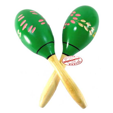 D'Luca Wood Maracas Green 8 Inches