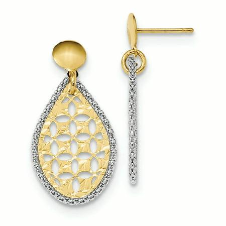 14K White And Yellow Gold Polished Diamond Cut Fancy Teardrop Dangle Post Stud Earrings, 30 MM
