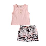 2PCS Toddler Baby Girls Camouflage Outfit T-Shirt Pocket Camo Skirt Dress Summer Clothes Set