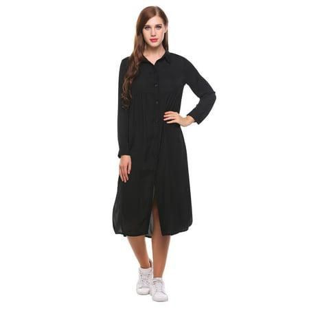 Women Long Sleeve Casual Loose Solid Side Split Shirt Dress Otst