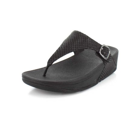 c63c55828 FitFlop - FitFlop E58-424  Womens Skinny Snake-Embossed Leather Toe-Thong  Black Sandal (8 B(M) US) - Walmart.com