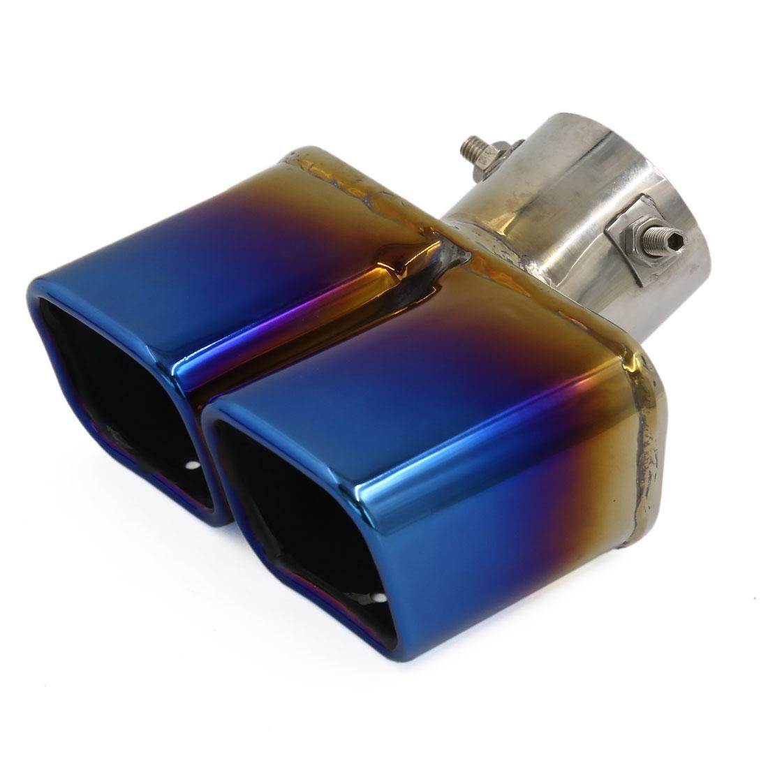63mm Diamètre entrée en Titane Bleu Pointe Silencieux D'échappement Silencieux pour Auto Voiture - image 3 de 3