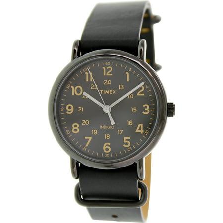 Timex Men S Weekender T2p494 Black Leather Analog Quartz