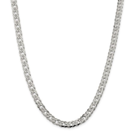Roy Rose Jewelry Sterling Silver 6.25mm Double 6 Side Diamond Cut Flat Link Chain 18