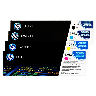 HP 125A Color LaserJet CM1312, CP1215, CP1518 4-Color Toner Cartridge Set