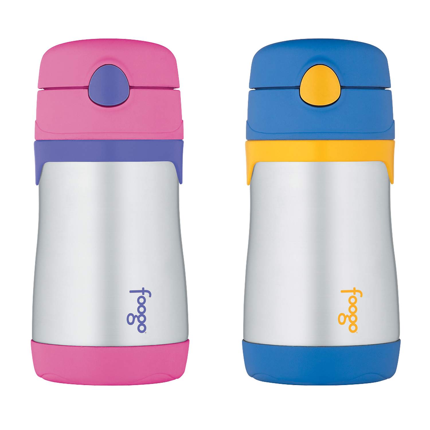 Thermos FOOGO Vacuum Insulated Stainless Steel 10-Ounce Straw Bottle, Pink/Purple & Thermos FOOGO Vacuum Insulated Stainless Steel 10-Ounce Straw Bottle, Blue/Yellow