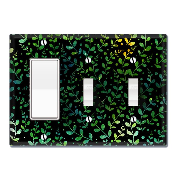 Wirester Triple 1 Gang Decorator Light Switch And 2 Gang Toggle Wall Plate Switch Plate Cover Green Leaf Pattern Walmart Com Walmart Com