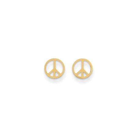 - 14k Yellow Gold Peace Sign Post Stud Earrings Inspiration Gifts For Women For Her