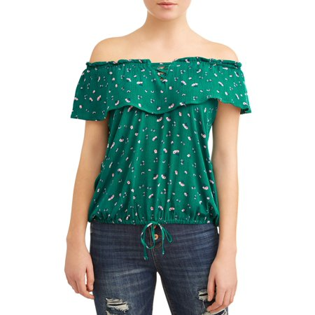 Ditsy Floral Top - Juniors' Ditsy Floral Print Ruffle Flouce Off the Shoulder Blouse