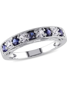 7/8 Carat T.G.W. Created Blue and White Sapphire Sterling Silver Semi-Eternity Anniversary Ring