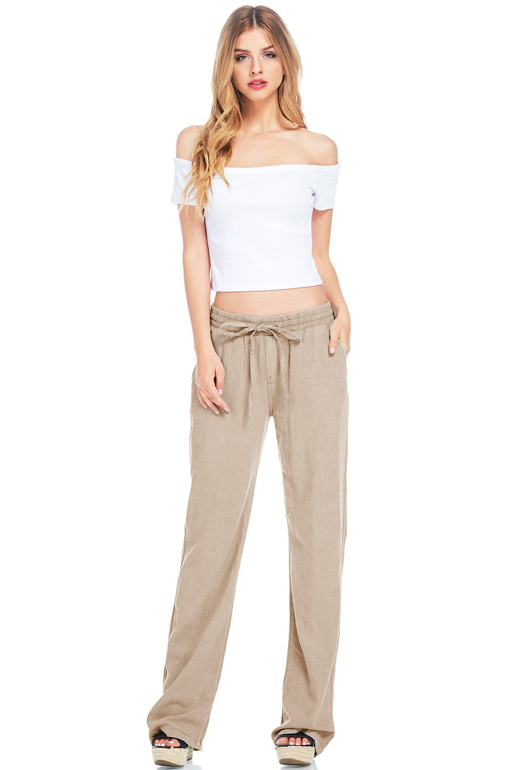 Celebrity Pink Women's Juniors Mid Waist Wide Leg Linen Pants (S, Coral)