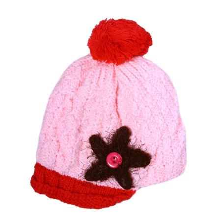 Warm Knitted Baby Kids Pom Beanie with Plush Lining,Pink