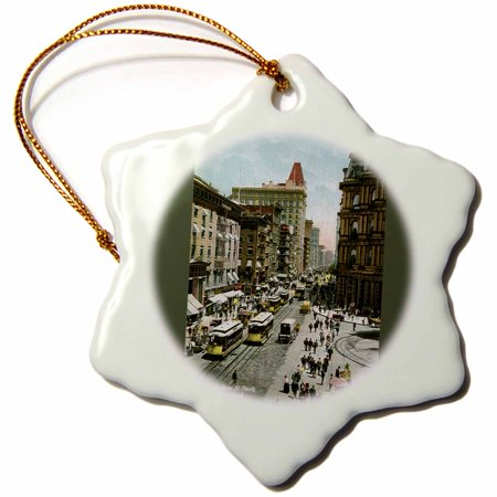 3dRose Broadway From St. Pauls New York City Street Scene with Trolley Cars - Snowflake Ornament, 3-inch](Snowflake Scenes)
