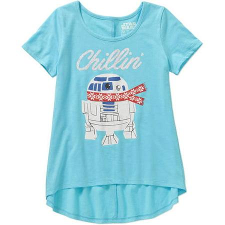 1fccb27c238a57 Girls  Chillin  Short Sleeve Scoop Neck HiLo Graphic Tee - Walmart.com