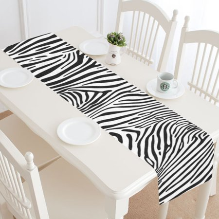 MYPOP Zebra Stripes Table Runner Home Decor 14x72 Inch, Animal Skin Table Cloth Runner for Wedding Party Banquet Decoration