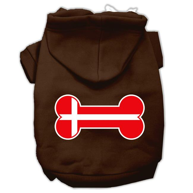 Bone Shaped Denmark Flag Screen Print Pet Hoodies Brown L (14) - image 1 de 1