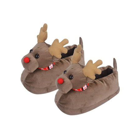 3d reindeer christmas slippers winter indoor house slipper shoes for women men brown 40 44 walmartcom