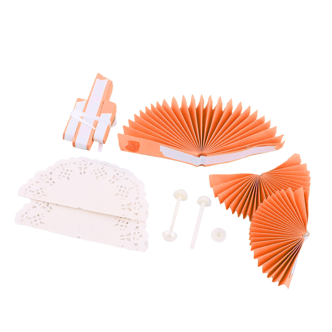 Birthday Party Paper Round DIY Handcraft Hanging Ornament Wheel Fan Orange 2pcs