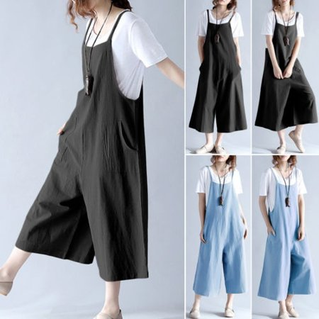 2 Colors Cotton Linen Overalls Jumpsuit for Woemn Girls Strap Rompers Dungaree Loose Trousers Pants niceshirt (Adult Overalls)