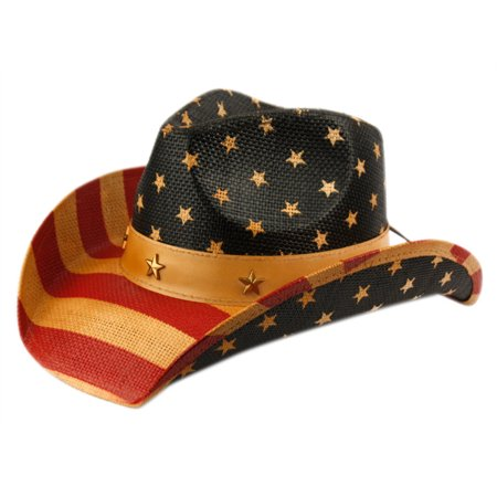 Vintage US American Flag Cowboy Hat USA Stars Stripes Patriotic w/ Faux Leather Trim