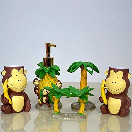 AM 5 Piece Bath Set, Lovely Monkey and Tree 5 Piece Bath Ensemble, Quality