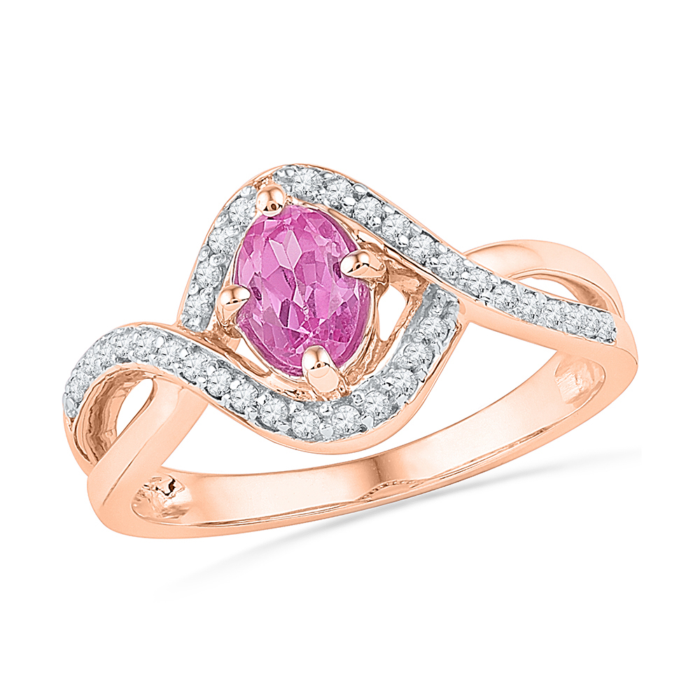 Size 7 Solid 10k Rose Gold Oval Round Pink Simulated Sapphire And White Diamond Engagement Ring OR Fashion Band Prong... by AA Jewels