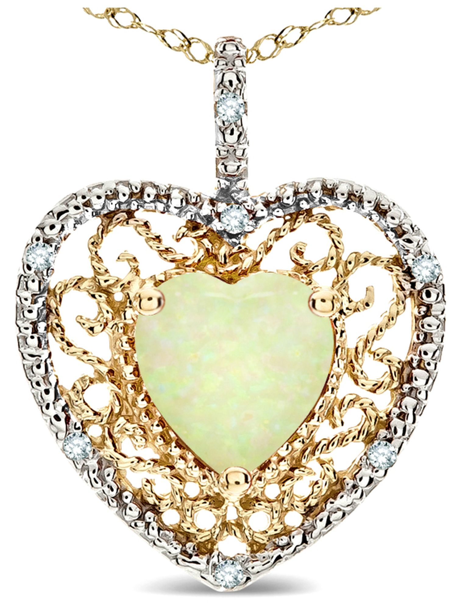 Star K Heart Shape 8mm Created Opal filigree Heart Pendant Necklace 10k Yellow Gold