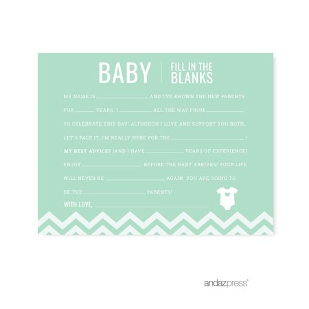Fill-In-The-Blank Mint Green Chevron Baby Shower Games, 20-Pack (Mint Green Baby Shower)
