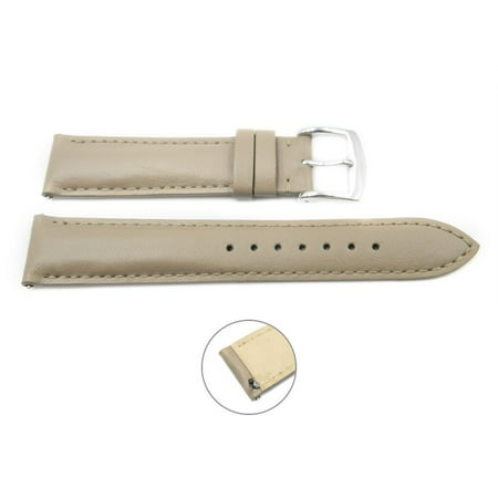Quick Release 20mm Taupe Leather Smooth Watch Band - Interchangeable Womens Watch Straps ()
