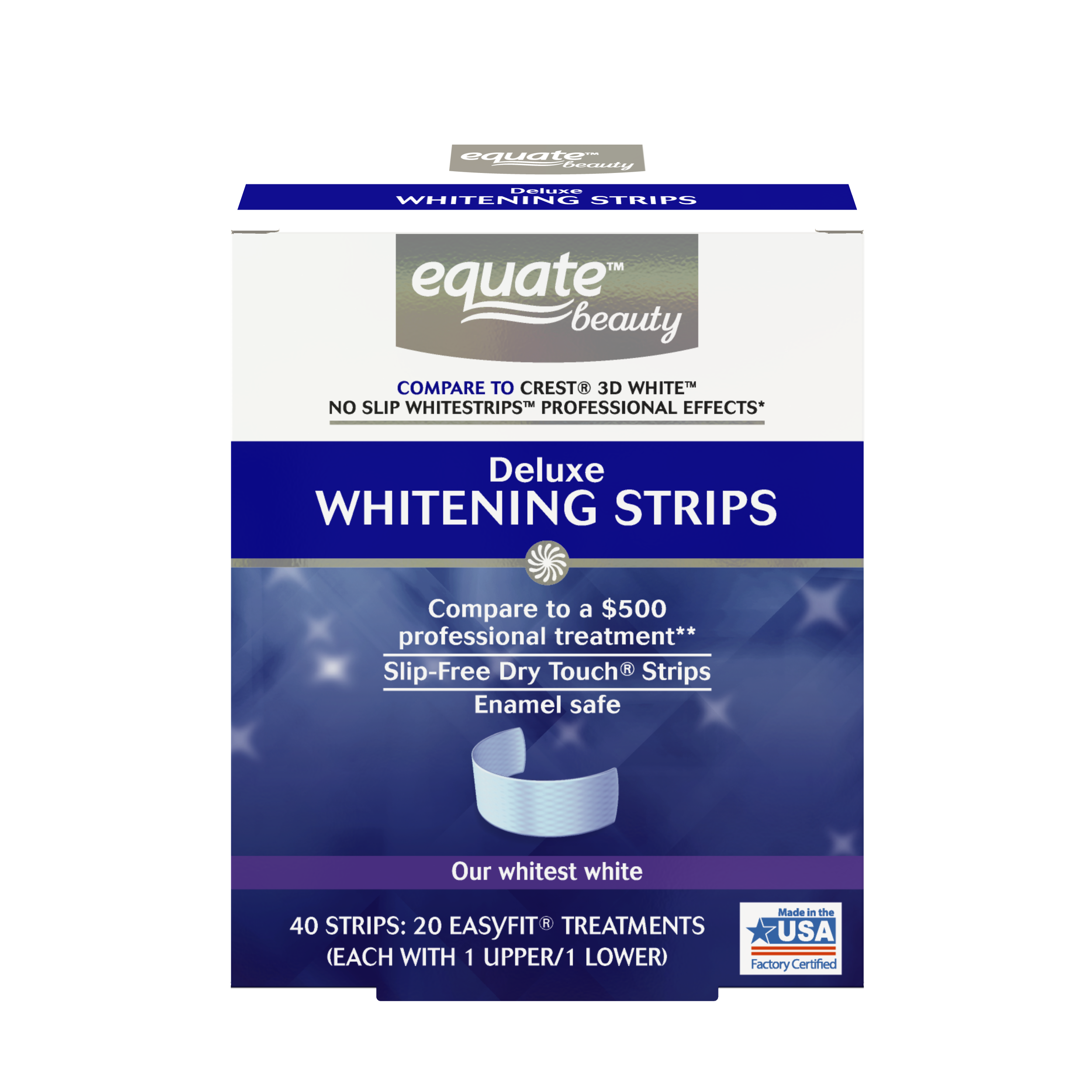 Equate Beauty Deluxe Teeth Whitening Strips, 20 Treatments (Compare to Crest 3D White Professional Effects)