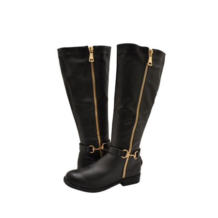 Leather Bamboo - Bamboo Pilot 46S Womens Shoes Knee High Faux Leather Zipper Boot Black