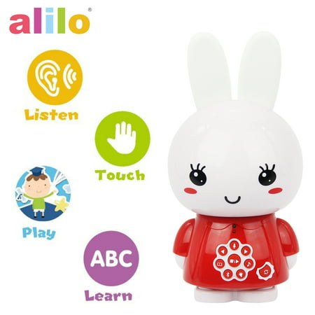 alilo Honey Bunny Story Teller Nursery Rhyme Lullaby Song Bedtime Story Fairy-tale Interactive Children Brain Kid Early Development Learning Toy Training Bluetooth English Chinese Bilingual G6X - Red - Chinese Toys